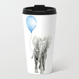 Baby Animal Elephant Watercolor Blue Balloon Baby Boy Nursery Room Decor Travel Mug