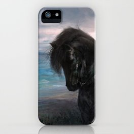 Hiraeth - Knight on Friesian black horse iPhone Case