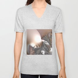 Muted misty colors of a fractal world at dusk light Unisex V-Neck