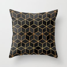 Black Cubes Throw Pillow