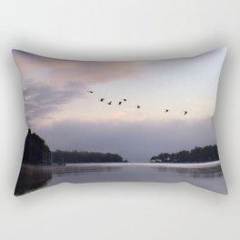 Uplifting III: Geese Rise at Dawn on Lake George Rectangular Pillow