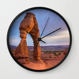 Golden Arch - Delicate Arch at Sunset in Utah Wall Clock