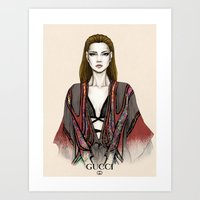 gucci Art Prints featuring Gucci illustration by Tania Santos