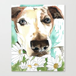 Watercolor Wildflowers & her Bestie Canvas Print
