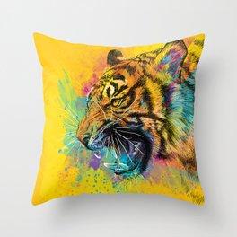 Angry Tiger Throw Pillow