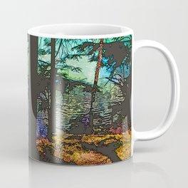 MOUNTAIN LAKE THROUGH HEMLOCK TREES Coffee Mug