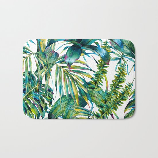 nature leaves exotic watercolor I Bath Mat