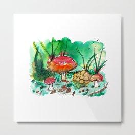 Toadstool Mushroom Fairy Land Metal Print