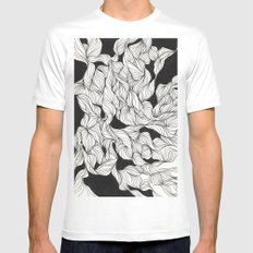 Abstract curlicues White MEDIUM Mens Fitted Tee