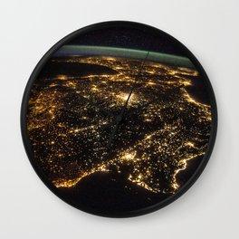 Iberian Peninsula at Night Wall Clock