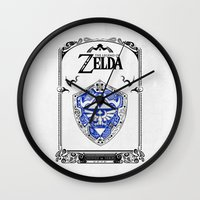 majora Wall Clocks featuring Zelda legend - Hylian shield by Art & Be