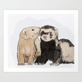 Ferret Kisses Art Print