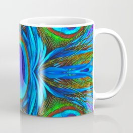 BLUE  PEACOCK EYE FEATHER ABSTRACT Coffee Mug