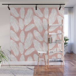 White Tropical Palm Tree Fern Leaf on Rose Gold Pattern Wall Mural