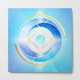 Icy Golden Winter Swirl :: Floating Geometry Metal Print