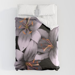 Black and White Ant Lilies Flower Scanography Comforters