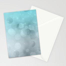 Aqua Turquoise Grey Soft Gradient Bokeh Lights Stationery Cards