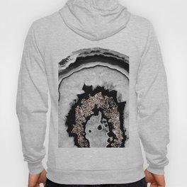 Gray Black White Agate with Rose Gold Glitter #1 #gem #decor #art #society6 Hoody