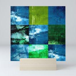 Blue green square Mini Art Print