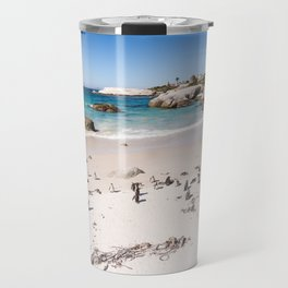 Penguins on Boulders Beach in Cape Town, South Africa Travel Mug