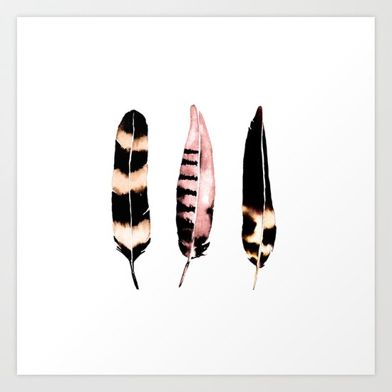 Feathers of Rose Gold Art Print