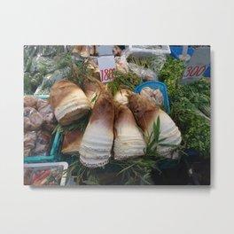 fresh bamboo shoots on a market stall Metal Print