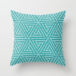 Alabaster White Solid Color Aztec Tribal Triangle Pattern on Aqua Teal Turquoise - Aquarium SW 6767 Throw Pillow