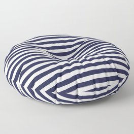 Navy Blue and White Horizontal Stripes Floor Pillow