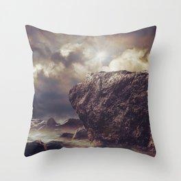 Rock in the ocean Throw Pillow