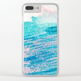 Abstract hand painted blue teal pink watercolor brushstrokes Clear iPhone Case