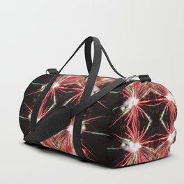 Spectacular Red and green Fireworks in black sky Duffle Bag