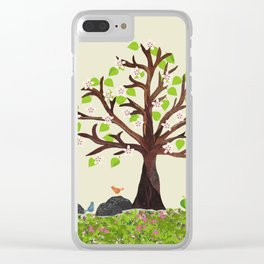 Spring Tree in Bloom with birds Clear iPhone Case