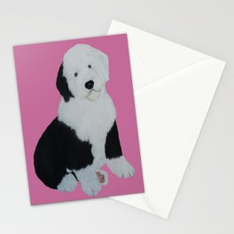 Old English Sheepdog Puppy/Pink background  Stationery Cards