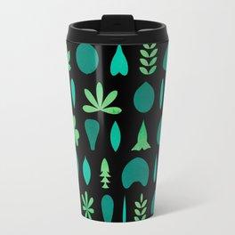 Leaf Shapes and Arrangements Pattern Dark Travel Mug