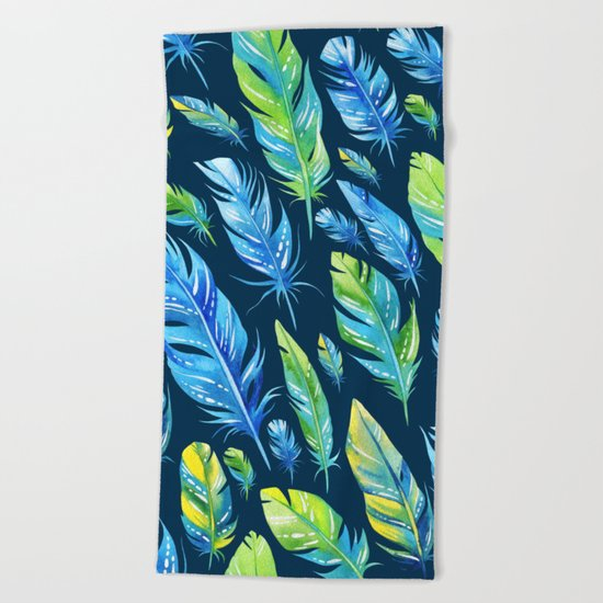 Feathers Pattern 04 Beach Towel