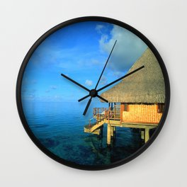 Over-the-Water Island Bungalow Wall Clock