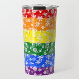 Christmas Pride Bright Festive Rainbow Snowflakes Travel Mug