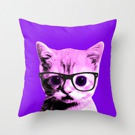 Pop Art Kitten with glasses #5 Throw Pillow