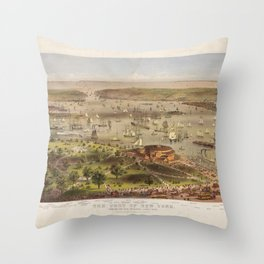 Port of New York from the Battery looking South (1878) Throw Pillow