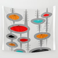 mid century modern Wall Tapestries featuring Mid-Century Modern Space Age 2 by Kippygirl