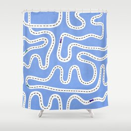 Blue Speed Racers Shower Curtain