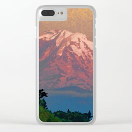 Snow-capped Mount Rainier at Dusk Painterly Photo Illustration Clear iPhone Case