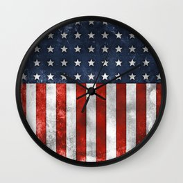 American Flag Stars and Stripes Distressed Grunge 4th. July Wall Clock