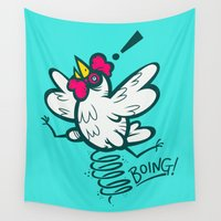 chicken Wall Tapestries featuring Spring Chicken by Artistic Dyslexia