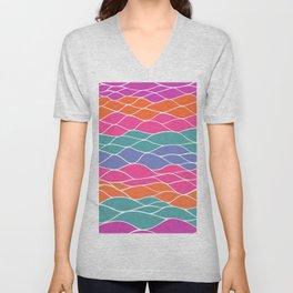 Multicolored Waves Unisex V-Neck