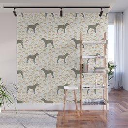 Big Grey Weimaraner Dog and Yellow Paw Prints Wall Mural