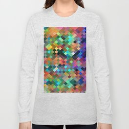 geometric square pixel pattern abstract in orange blue purple pink green yellow Long Sleeve T-shirt