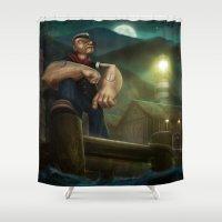 popeye Shower Curtains featuring Popeye by Geison Araujo
