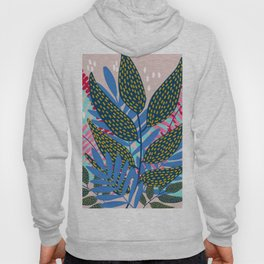 Blue Pink and Gold Vines and Leaves Hoody