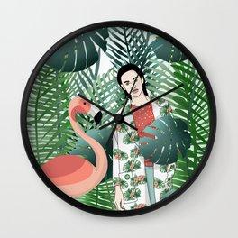 Flamenco and jungle girl Wall Clock